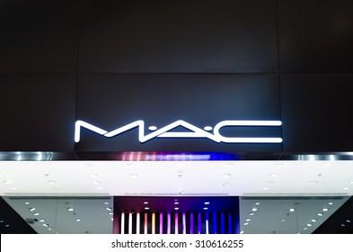 """IASI, ROMANIA: 07, JULY 2015:  The logo of the brand """"Mac"""" in Iasi, Romania. MAC Cosmetics was founded in Toronto, Ontario, Canada in 1984."""