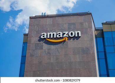 IASI, ROMANIA - APRIL 26 2018: Amazon logo of company for logistics and transport. Iasi, Romania