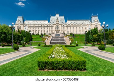 IASI, ROMANIA - AUGUST 03, 2015: Palace of Culture is the main attraction point of the Moldavian capital, it was built in Neogothic style and as such was one of the last expressions of Romanticism