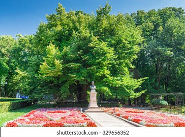 IASI, ROMANIA - CIRCA AUGUST 2015: Eminescu's Linden Tree is an almost 500 year old tree in the Copou Public Garden, Iasi. Romanian poet Mihai Eminescu wrote some of his best works underneath this tree