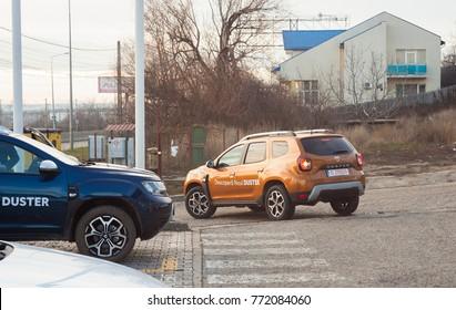 IASI, ROMANIA - DECEMBER 9 2017: the new Dacia Duster off road car seen in Iasi city showroom and dealer