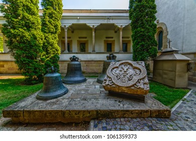 IASI, ROMANIA - JUL 21, 2017: Monastery The Three Holy Hierarchs in Iasi. Church bells. Picture taken during a trip to Romania.