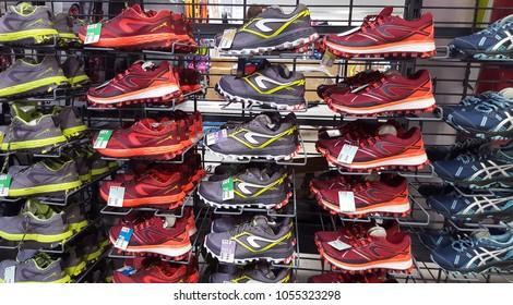 IASI, ROMANIA - MARCH 1 2018: sport shoes for sale in Decathlon market. Iasi, Romania