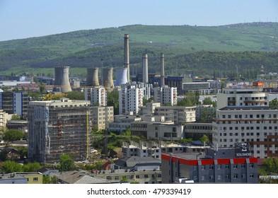 IASI, ROMANIA - MAY 16, 2016:  Urban landscape. Iasi, Romania. Industrial view of city