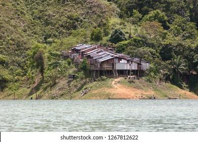 Iban Longhouse Along the Banks of a Lake in Sarawak