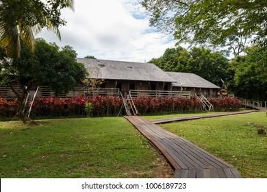 Iban longhouse Sarawak Culture village.