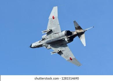 Ibaraki, Japan - December 01, 2018:Japan Air Self Defense Force F-4EJ-kai PhantomII at Hyakuri AB air show.