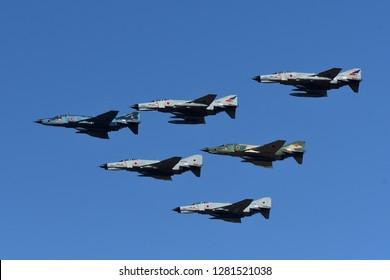 Ibaraki, Japan - December 01, 2018:Japan Air Self Defense Force F-4 PhantomII make formation flight at Hyakuri AB air show.