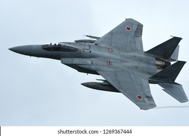 Ibaraki, Japan - July 20, 2018:Japan Air Self Defense Force F-15J Eagle takes off at Hyakuri AB.