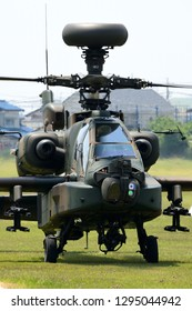 Ibaraki, Japan - May 17, 2015:Japan Ground Self Defense Force AH-64D Apache Longbow attack helicopter.