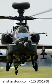 Ibaraki, Japan - May 17, 2015:Japan Ground Self Defense Force Boeing AH-64D Apache Longbow attack helicopter.