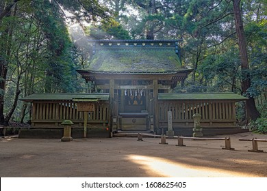 Ibaraki, Japan - October 31, 2019 : Okumiya Shrine of the Kashima Jingu Shrine. It was established in the first year of Emperor Jimmu in approximately 600BC.