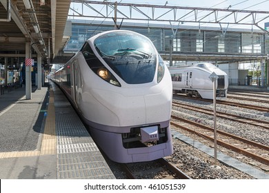 "IBARAKI,JAPAN - APRIL 20,2016 : The limited express train ""Hitachi"" at Katsuta station. This train use E657 Series train operated by JR East in Joban line (Shinagawa-Iwaki route)."