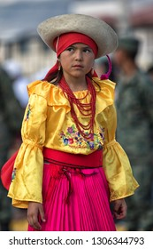 Ibarra, Ecuador-September 21,2018: young indigenous girl in traditional clothing participating at the city foundation celebration parade