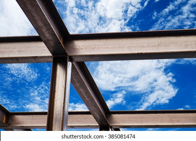 I-Beam steel construction, on blue sky