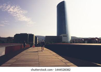 Iberdrola tower headquarters of the Iberdrola electrical company near the Pedro arrupe bridge. Bilbao, Spain June 2019