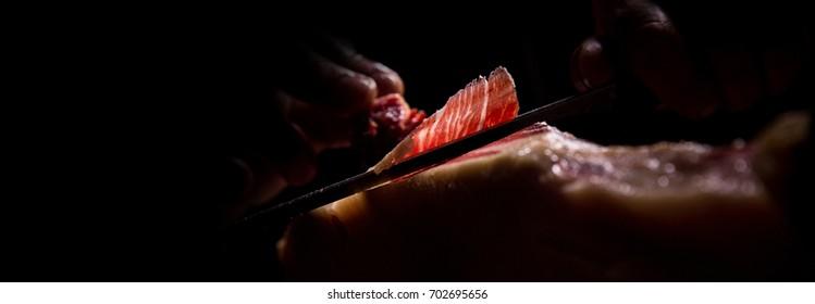 Iberian ham cutter, long banner format