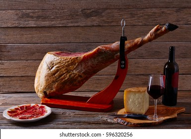 Iberian ham pata negra from Spain manchego cheese and red wine