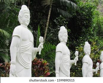IBIRACU,ESPIRITO SANTO/BRAZIL-10/06/2019:  Statues of the Goddess Kannon at the  Zen Buddhist Temple