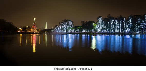 Ibirapuera Park, in Sao Paulo, decorated for the holiday season.