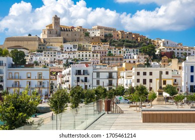 IBIZA, BALEARIC ISLANDS, SPAIN - AUGUST, 2019: Monumento a los Corsarios, obelisk that pays tribute to the corsairs is located in the port of Eivissa old town