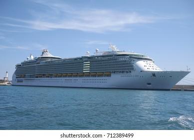 Ibiza, Balearic Islands, Spain - August 31, 2015: Royal Caribbean Cruise, Independence of the Seas in Eivissa harbor