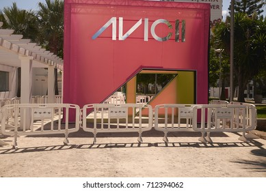 Ibiza, Balearic Islands, Spain - August 31, 2015: Entrance of Ushuaia club in Playa En Bossa