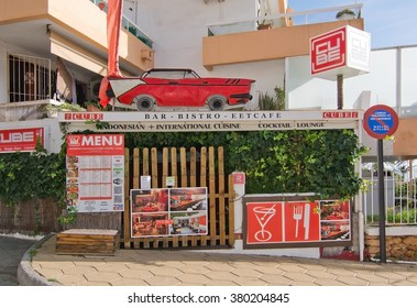 IBIZA, BALEARIC ISLANDS, SPAIN - DECEMBER 17, 2015:  Cube bar and bistro with 50'ies style in Figueretas on December 17, 2015 in Ibiza, Balearic islands, Spain