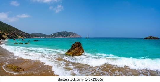 Ibiza beach of Aigua blanca in Santa Eulalia at Balearic islands also Aigues Blanques