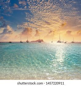 Ibiza Cala Comte Conta beach sunset in Sant Josep of Balearic Islands