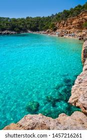 Ibiza Cala Salada and Saladeta in Balearic Islands of spain