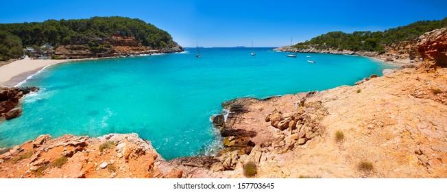 Ibiza cala Salada and Saladeta in san Antonio Abad at Balearic Islands Spain