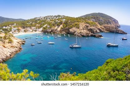 Ibiza Cala Vadella alse Vedella beach in Sant Josep of Balearic Islands