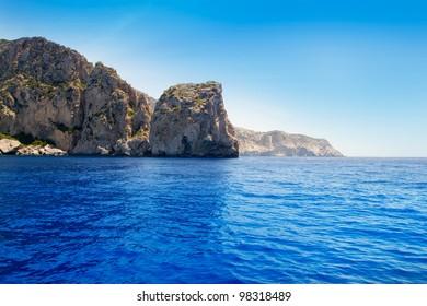 Ibiza Cap de Jueus near Es Vedra in Balearic Mediterranean sea