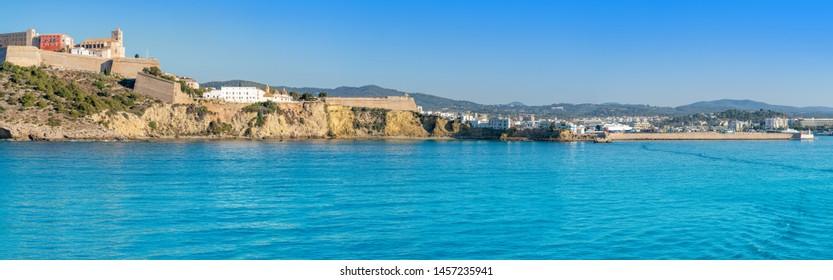 Ibiza Eivissa Castle and skyline panoramic from sea in Balearic Islands