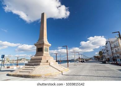 IBIZA- EIVISSA, SPAIN- JANUARY 12, 2018: Port promenade,obelisk, monument, tribute to corsairs  in Ibiza, Spain.