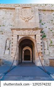 Ibiza, entry porch of the old city of Eivissa, the drawbridge of  the walls