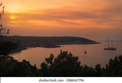 Ibiza island at dusk