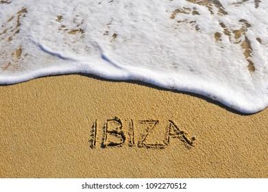 ibiza island sign on the beach, Spain