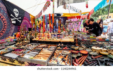Ibiza Island, Spain - May 2, 2018: Lot of colorful things for smoking and smokers at the Hippy market. Hippy market organised since the 1970s by the hippy community. Balearic Islands Spain