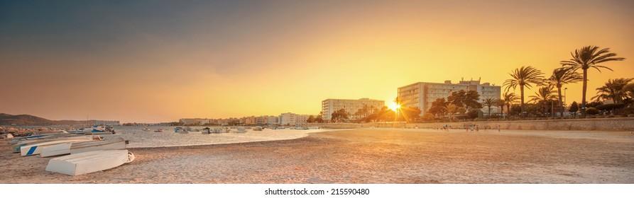 Ibiza island sunset view in San Antonio