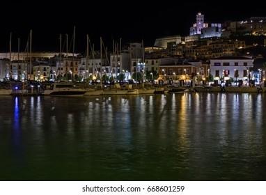 Ibiza at night, port area and dalt Vila. Long exposure photography
