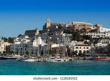 Ibiza old city and marina bay