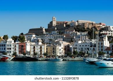 Ibiza old city with marina bay
