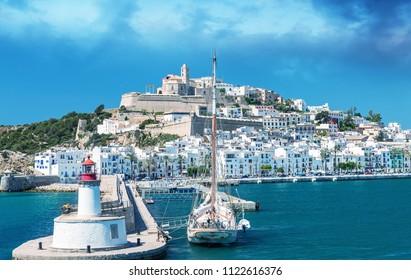 Ibiza Port on a beautiful day. Balearic Islands.