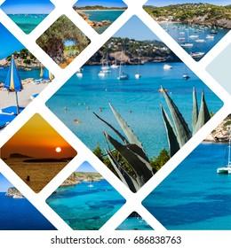 Ibiza postcard, collage of Ibiza