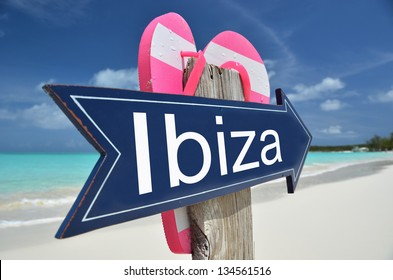 IBIZA sign on the beach
