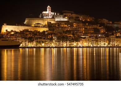 Ibiza skyline at night