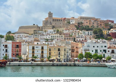 IBIZA, SPAIN - JULY 14, 2017 : Old town with castle and marina of Eivissa city, Ibiza island. Waterfront view.