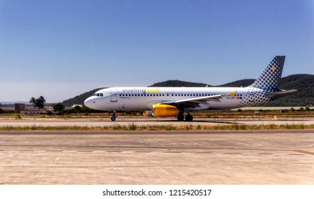IBIZA, SPAIN, July 16 2018: Vueling Airbus A320 on the runway before take of at Ibiza International Airport in Ibiza, Spain.
